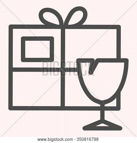 Fragile Box Line Icon. Fragile Cargo Package With Glassware. Postal Service Vector Design Concept, O