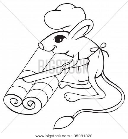 Jerboa chef cuts dough on slices. Outline illustration. poster
