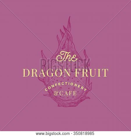 Dragon Fruit Cafe Abstract Vector Sign, Symbol Or Logo Template. Hand Drawn Sketch Dragonfruit With