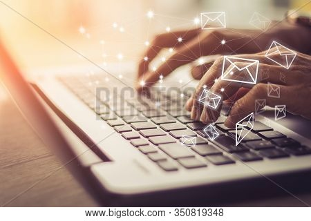 Business Woman Hand Using Laptop Pc With Email Icon, Email Concept