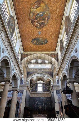 Gallipoli, Italy - May 31, 2017: Cathedral Church In Gallipoli, Salento Peninsula, Italy. Full Name