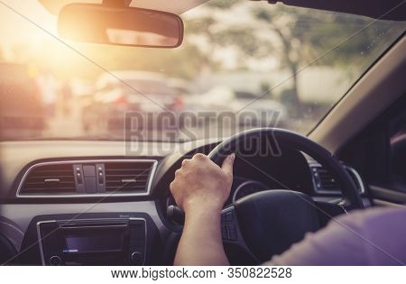 Woman Practice Driving Car Exam Driver Licence Control Steering Wheel Education And Learn On Street