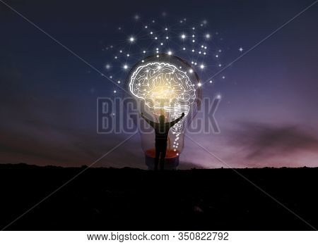 Creative Idea.concept Of Idea And Innovation.night Sky Background.soft Focus Picture.blue Tone Conce