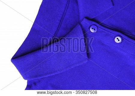 Blue Polo Shirt Close Up Top View. Button-down Short Sleeve T-shirt, Blue Collar Neck Clothes. Fashi