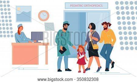 Children Orthopedic Dept In Hospital With Doctor.
