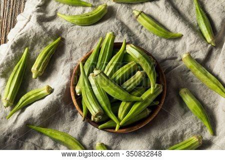 Raw Green Organic Okra Pods