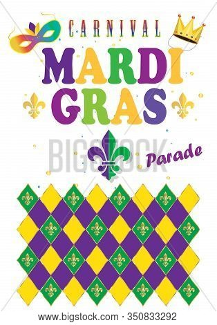 2020 Abstract carnival Mardi Gras festival night party, Samba dance parade Rio Brazilian Carnival, New Orleans, notting hill, Venezia costume tropical exotic palm tree leaves, fleur de lis sign diamond pattern vector