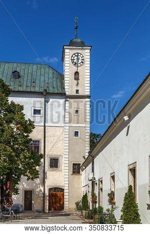 Cerveny Kamen Castle Is A 13th-century Castle In Southwestern Slovakia. Clock Tower