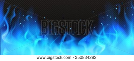 Realistic Blue Fire Border, Burning Flame With Sparkles Isolated On Dark Black Background. Bonfire B
