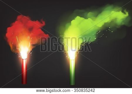 Burn Red And Green Flare, Signal Light For Emergency On Road Or Sea. Vector Realistic Glowing Torch