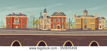 19th Century Town Street With European Colonial Victorian Style Buildings And Lake Promenade. Vector