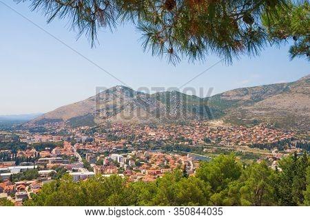 Bosnia And Herzegovina, Republika Srpska. View Of Trebinje City From Crkvina Hill On Sunny Summer Da