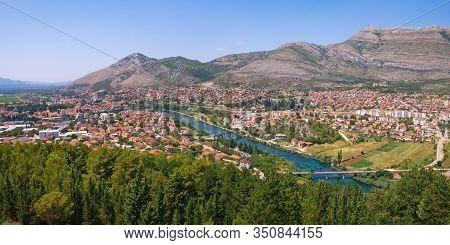 Panoramic View Of Trebinje City And Trebisnjica River From Crkvina Hill On Sunny Summer Day. Bosnia