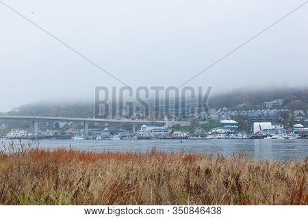 Atlantic Highlands On Foggy Fall Day