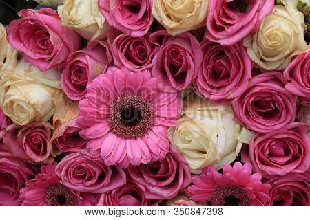 Pink And Purple Roses And Gerberas In A Big Wedding Centerpiece