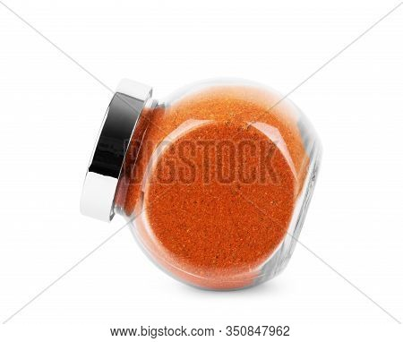 Jar Of Spices In Glass Jar On White Background