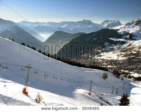 Ski Slopes Of Verbier With Dents Du Midi In Background