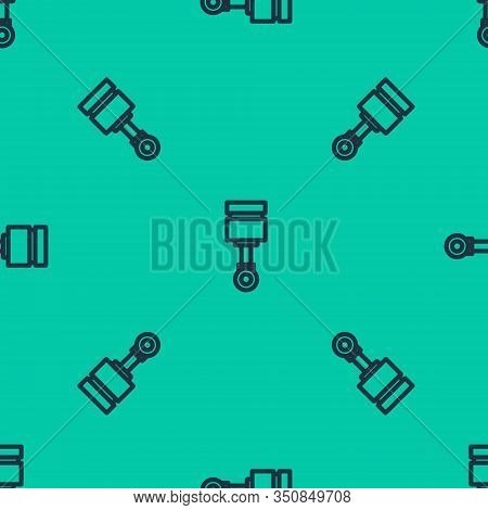 Blue Line Engine Piston Icon Isolated Seamless Pattern On Green Background. Car Engine Piston Sign.
