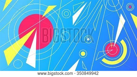 Abstract Vibrant Trendy Pop Art Background With Lines, Circles, Triangles. Can Be Used As Template F