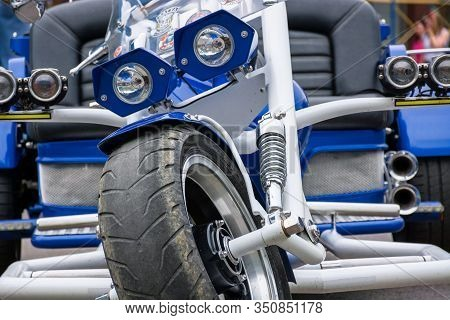 Uzhgorod, Ukraine - Jul 09, 2016: Silverr Trike Detail Shots. Beautiful Custom Three Wheel Motorcycl
