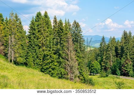 Forested Hill Of Carpathian Mountains. Clouds On The Blue Sky. Ridge In The Distance. Sunny Afternoo