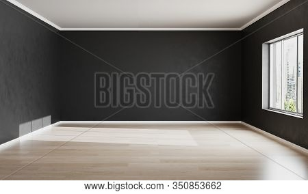 Empty Room With Black Wall For Mockup. Black Wall Background. Empty Space. 3d Rendering.