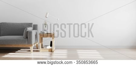Hipster Style Interior Background With Grey Sofa, Scandinavian Style Interior , Wall Mock Up, 3d Ren
