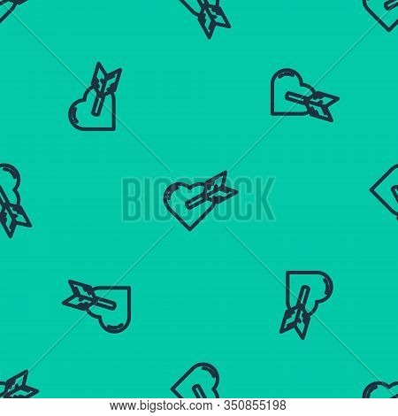 Blue Line Amour Symbol With Heart And Arrow Icon Isolated Seamless Pattern On Green Background. Love