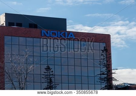 Ottawa, Ontario, Canada - February 12, 2020: The Offices Of The Telecommunications Company Nokia In
