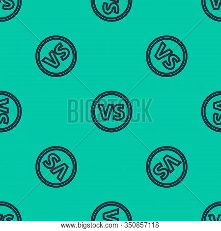 Blue Line Vs Versus Battle Icon Isolated Seamless Pattern On Green Background. Competition Vs Match
