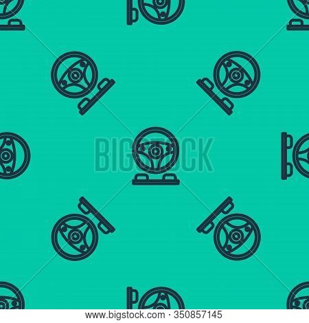 Blue Line Racing Simulator Cockpit Icon Isolated Seamless Pattern On Green Background. Gaming Access