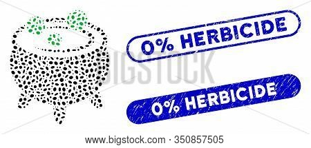 Collage Cauldron And Grunge Stamp Seals With 0 Percent Herbicide Text. Mosaic Vector Cauldron Is For