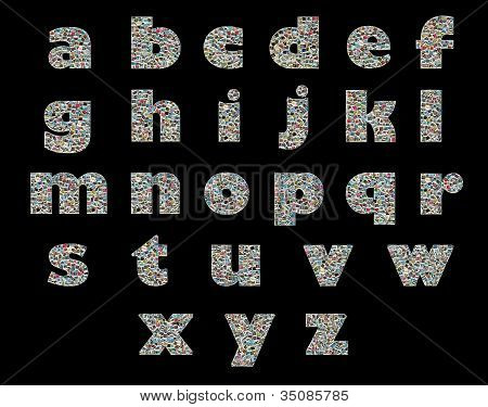 Unique English Alphabet Made Like Collage Of Travel Photos On A Black Background