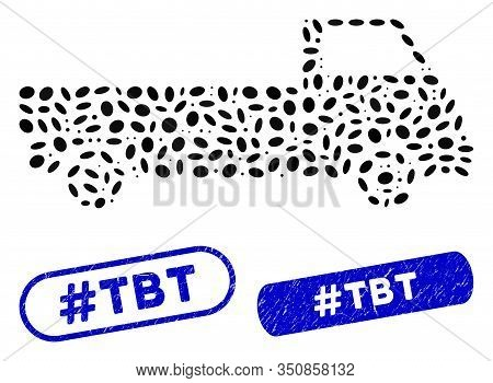 Mosaic Truck And Grunge Stamp Seals With Hashtag Tbt Caption. Mosaic Vector Truck Is Composed With S
