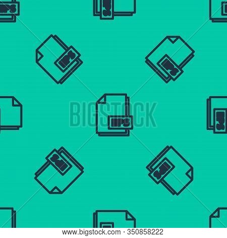 Blue Line Eps File Document. Download Eps Button Icon Isolated Seamless Pattern On Green Background.