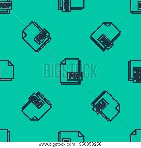 Blue Line Pdf File Document. Download Pdf Button Icon Isolated Seamless Pattern On Green Background.