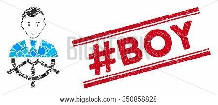 Mosaic Captain Icon And Red Hashtag Boy Seal Stamp Between Double Parallel Lines. Flat Vector Captai