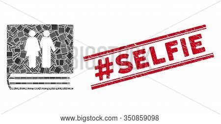 Mosaic Family Album Icon And Red Hashtag Selfie Seal Between Double Parallel Lines. Flat Vector Fami