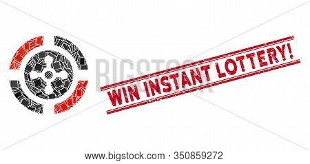 Mosaic Roulette Pictogram And Red Win Instant Lottery Exclamation Stamp Between Double Parallel Line