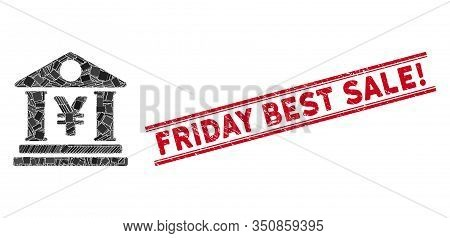 Mosaic Yen Bank Building Pictogram And Red Friday Best Sale Exclamation Seal Stamp Between Double Pa