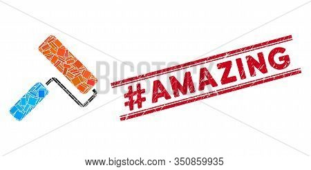 Mosaic Paint Roll Icon And Red Hashtag Amazing Seal Between Double Parallel Lines. Flat Vector Paint