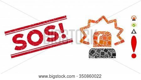 Mosaic Alarm Icon And Red Sos Exclamation Seal Stamp Between Double Parallel Lines. Flat Vector Alar