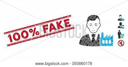 Mosaic Capitalist Oligarch Icon And Red 100 Percent Fake Seal Stamp Between Double Parallel Lines. F