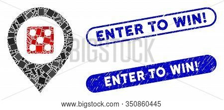 Mosaic Dice Map Marker And Grunge Stamp Seals With Enter To Win Exclamation Text. Mosaic Vector Dice