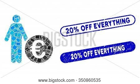 Mosaic Euro Investor And Grunge Stamp Seals With 20 Percent Off Everything Text. Mosaic Vector Euro