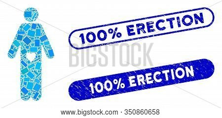 Mosaic Lover Guy And Rubber Stamp Watermarks With 100 Percent Erection Caption. Mosaic Vector Lover