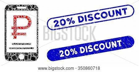 Collage Rouble Mobile Payment And Grunge Stamp Seals With 20 Percent Discount Caption. Mosaic Vector