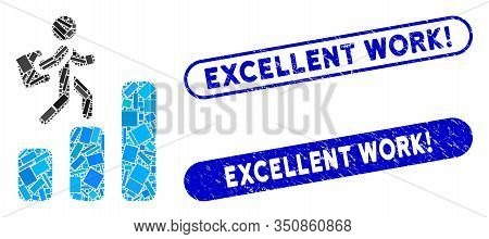 Mosaic Career Chart And Distressed Stamp Seals With Excellent Work Exclamation Phrase. Mosaic Vector