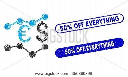Collage Currency Trends And Rubber Stamp Seals With 50 Percent Off Everything Phrase. Mosaic Vector