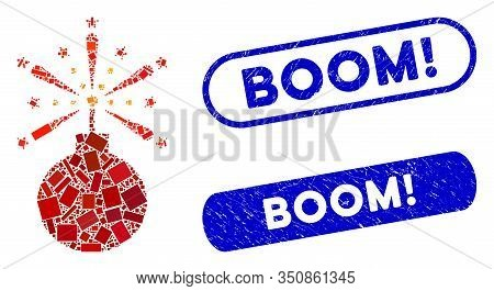 Mosaic Fireworks Detonator And Rubber Stamp Seals With Boom Exclamation Text. Mosaic Vector Firework